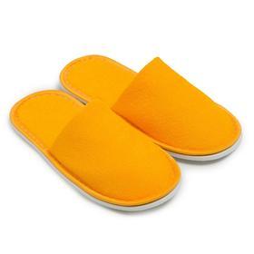 Тапочки женские махровые, закрытый нос, цвет жёлтый, размер 36-38
