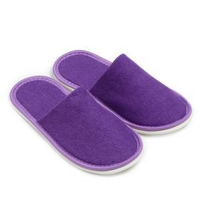 Тапочки женские махровые, закрытый нос, цвет фиолетовый, размер 36-38