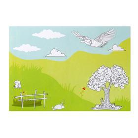 Набор наклеек с раскраской «Мир животных», 14.5 × 21 см
