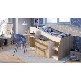 Кровать Скаут 800*1900  с рабочим местом  дуб сонома/ белый Ош