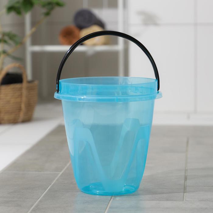 Ведро 5 л Лайт, цвет прозрачный голубой