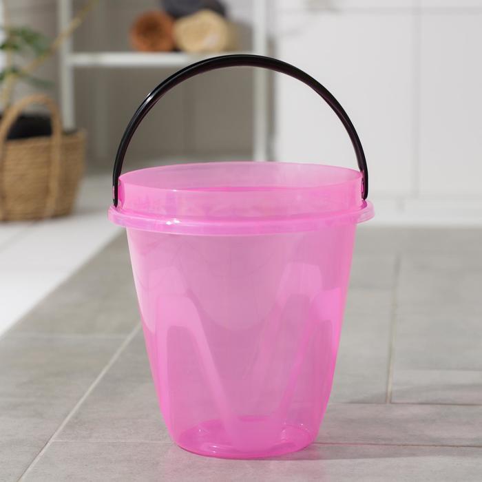 Ведро 5 л Лайт, цвет прозрачный розовый