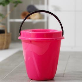 Ведро с крышкой «Лайт», 5 л, цвет розовый