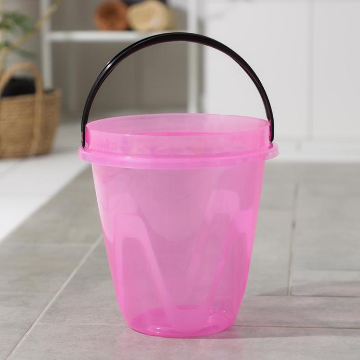Ведро 8 л Лайт, цвет прозрачный розовый