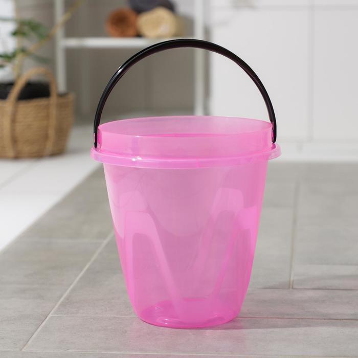 Ведро 10 л Лайт, цвет прозрачный розовый