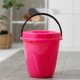 Ведро с крышкой «Лайт», 10 л, цвет розовый