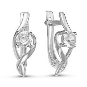 """Серьги посеребрение """"Красота"""" 10-07654, цвет белый в серебре"""