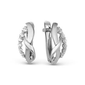"""Серьги посеребрение """"Изгиб"""" 10-06124, цвет белый в серебре"""