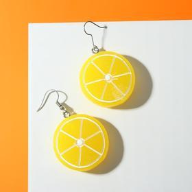 """Серьги пластик """"Вкусности"""" слайс лимона, цвет бело-жёлтый"""