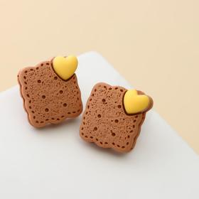 "Серьги пластик ""Вкусности"" печенюшка, цвет коричнево-жёлтый"