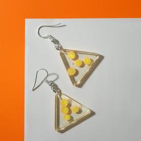 """Серьги пластик """"Вкусности"""" лёд с лимоном, цвет жёлтый"""