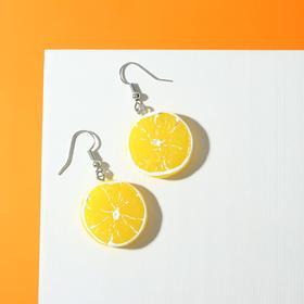 """Серьги пластик """"Вкусности"""" лимончик, цвет жёлто-белый"""