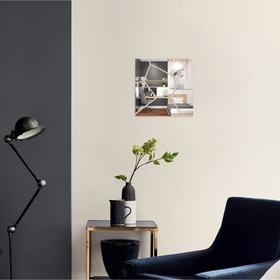 Декор настенный, зеркальный, квадрат 20 см, серебро Ош