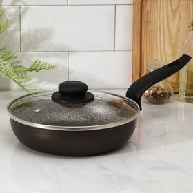 Сковорода глубокая Merletto, d=22 см, стеклянная крышка, антипригарное покрытие