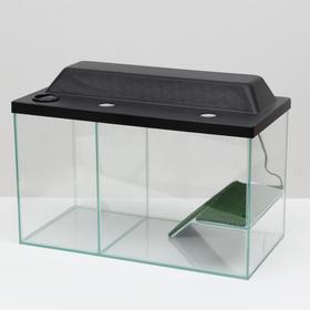 Аквариум-террариум с мостиком 35 литров, с чёрной крышкой,  50 x 25 x 30 см Ош