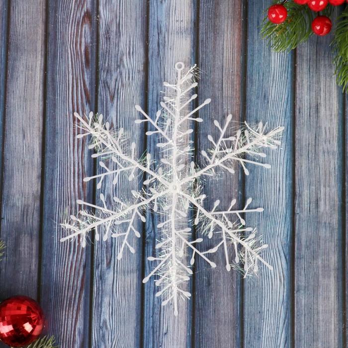 Украшение ёлочное Снежинка - пушинка набор 3 шт d-21 см белый