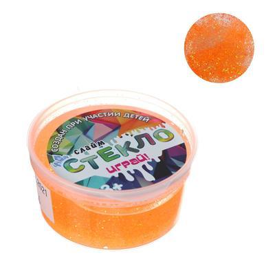 Слайм «Стекло» с оранжевыми неоновыми блёстками, 50 г - Фото 1