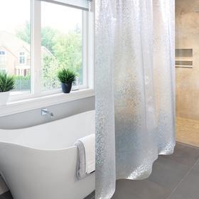 Штора для ванной комнаты Meiwa Asteria, 182х182 см, ПВХ, прозрачная