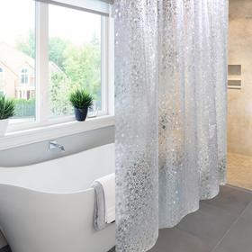 Штора для ванной комнаты Meiwa Sparkle, 182х182 см, ПВХ, прозрачная