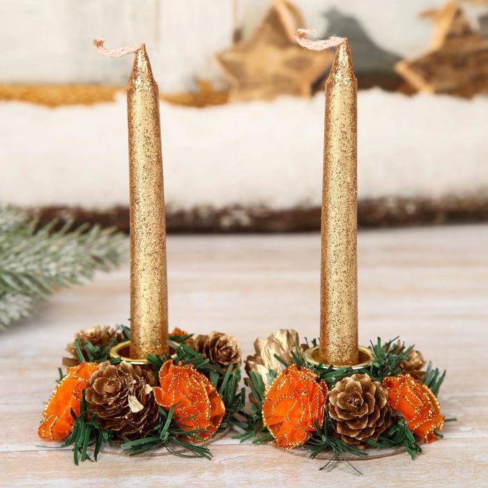 Подсвечники со свечами Шишки с розочками набор 2 шт.