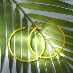 """Серьги-кольца """"Классик"""" тонкая линия, цвет жёлтый, d= 5 см"""