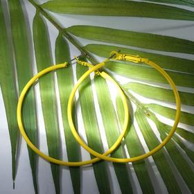 """Серьги-кольца """"Классик"""" тонкая линия, цвет ярко-жёлтый, d= 6 см"""