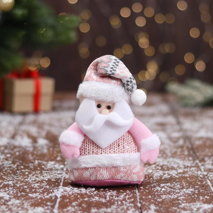 Мягкая игрушка Дед Мороз в вязаном костюме 9х15 см, розовый