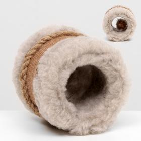 Игрушка-когтеточка с шариком, джут и ковролин, 10 х 10 см, темно-бежевая Ош