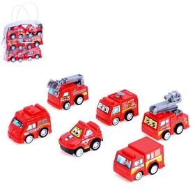 Набор инерционных машин «Пожарные» в сумке, 6 штук, МИКС