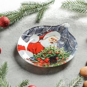 Блюдо сервировочное «Ёлочная игрушка. Счастливый Санта», 18×15,5×1,7 см