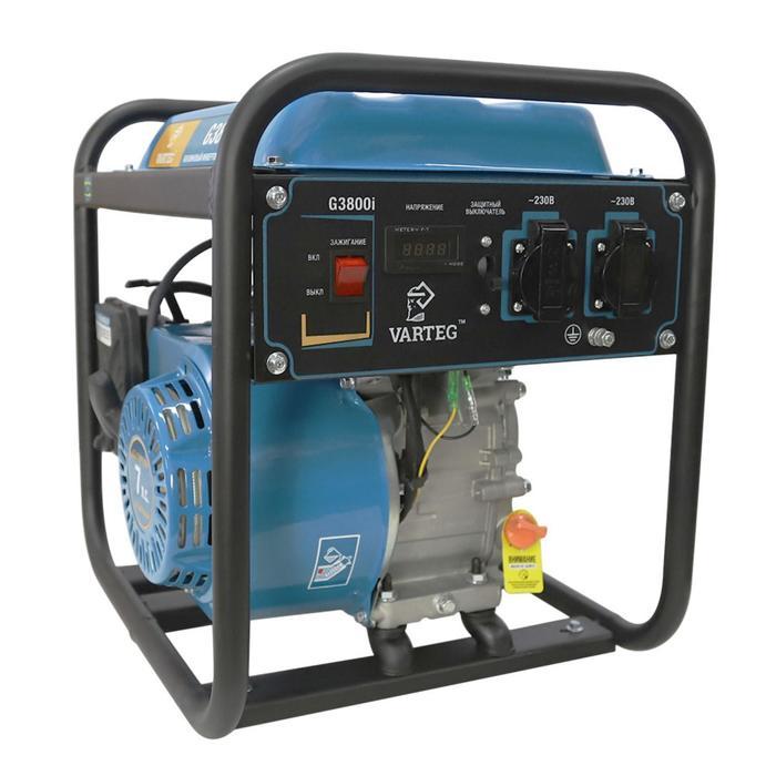 Бензиновый инверторный генератор VARTEG G3800i, 3.5 кВт, 7 л.с, 2х220 В/16 А, ручной старт