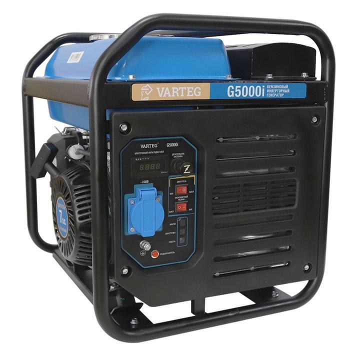 Бензиновый инверторный генератор VARTEG G5000i, 4.7 кВт, 7 л.с, 1х220 В/16 А, LED дисплей