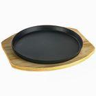 Сковорода «Круг», d=24,8 см, на деревянной подставке - Фото 2