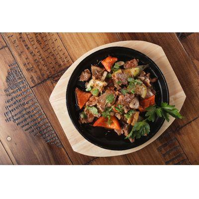 Сковорода «Круг», d=24,8 см, на деревянной подставке - Фото 1