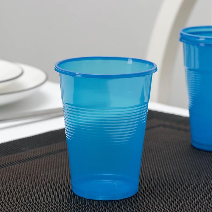 Стакан одноразовый Мопс, 200 мл, цвет синий