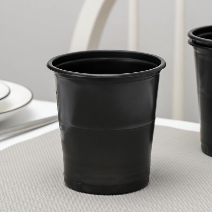 Стакан одноразовый Бочонок, 500 мл, цвет чёрный