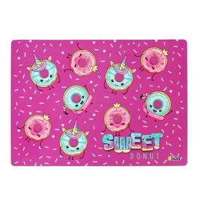 Накладка на стол пластиковая А4, 339 х 244 мм (+/- 5 мм), 500 мкм, для девочки 'Модные пончики' Ош