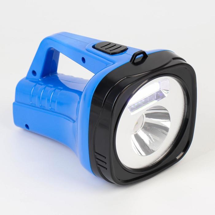 Фонарь-прожектор аккумуляторный, 2 Вт3 Вт, 800 mAh, от сети 220 В, 18.5х12х11, синий