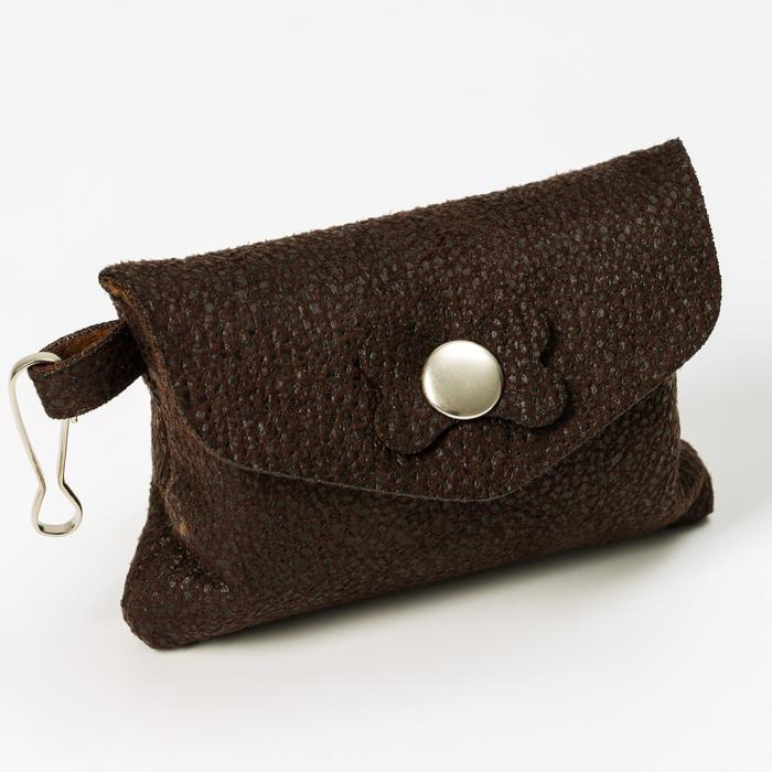"""Набор для уборки за собаками """"Пижон"""" сумка+пакеты 24х40 см, 20 шт, шоколадный/фиолетовый"""