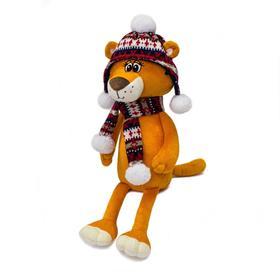 Мягкая игрушка «Тигрица Черри в шапке и шарфике с помпонами», 25 см