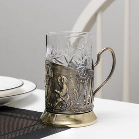 Набор для чая «Русские пляски», 2 шт: подстаканник, стакан, латунь