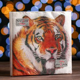Новогодние салфетки бумажные New Line Fresco Символ года «Тигр», 33х33 см, 2 слоя