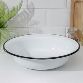 Миска эмалированная, 4 л, d=32 см, без деколи, цвет белый
