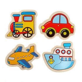 Деревянная игрушка Вкладка-пазл «Транспорт», набор, 4 пазла