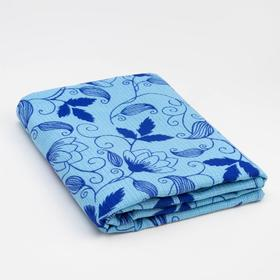 """Полотенце вафельное банное Экономь и Я """"Цветы"""" 80х150 см, цв.синий, 150 гр/м2, 100% хл"""