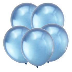 """Шар латексный 12"""" «Зеркальные шары», хром, набор 5 шт., цвет синий"""