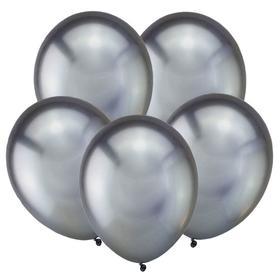 """Шар латексный 12"""" «Зеркальные шары», хром, набор 5 шт., тёмное серебро"""