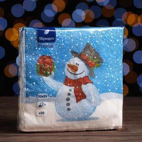 """Новогодние салфетки бумажные Перышко Prestige 33х33 """"Снеговик с подарком"""" 3сл 20л."""