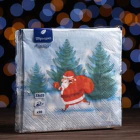 """Новогодние салфетки бумажные Перышко Prestige 33х33 """"Побег с подарком"""" 3сл 20л."""