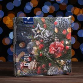 """Новогодние салфетки бумажные Перышко Prestige 33х33 """"Праздничная ночь"""" 3сл 20л."""